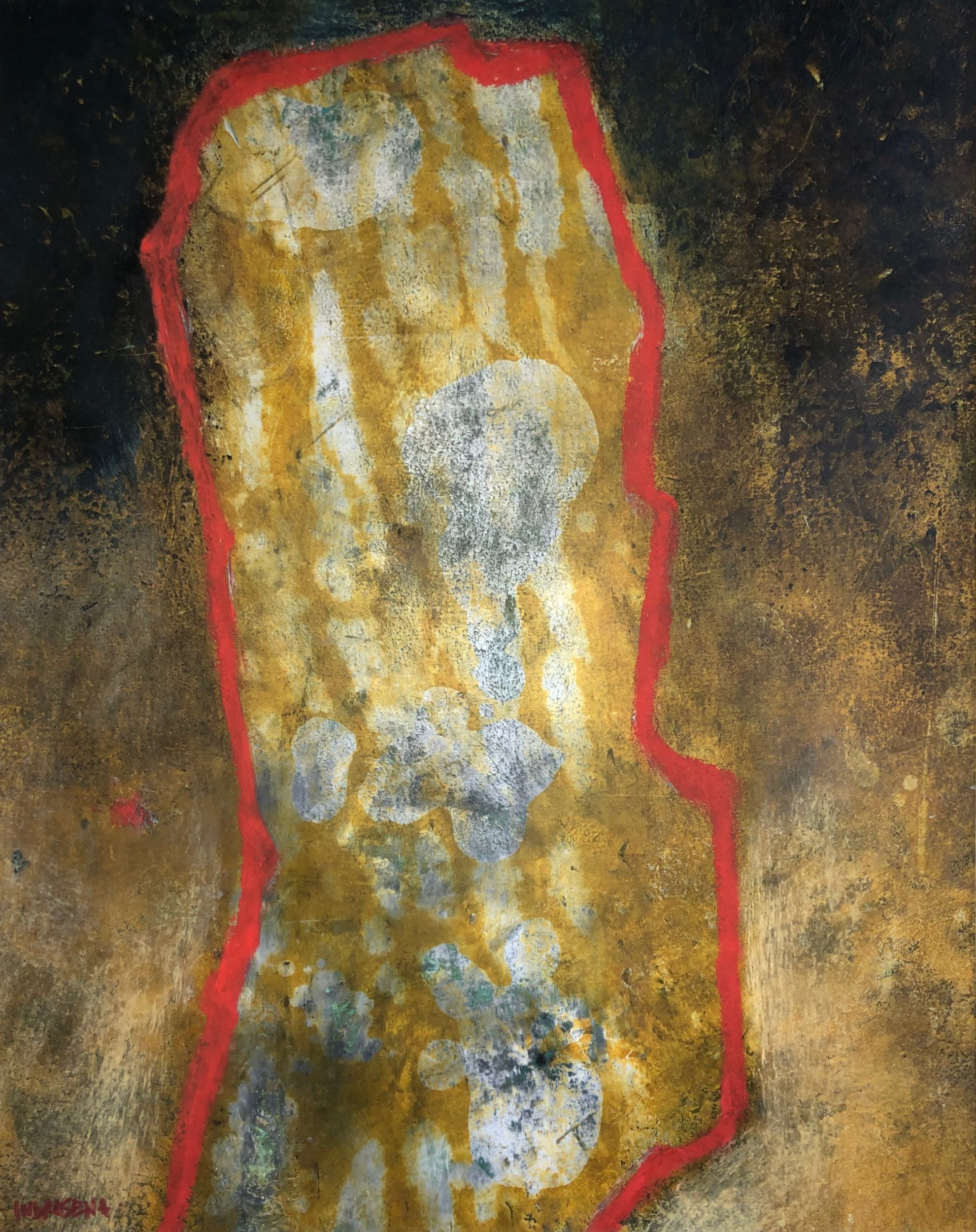 Walls of Evolution 40x50 ColdWax & Oil Mixed Media depicting cave painting and mark of human identity