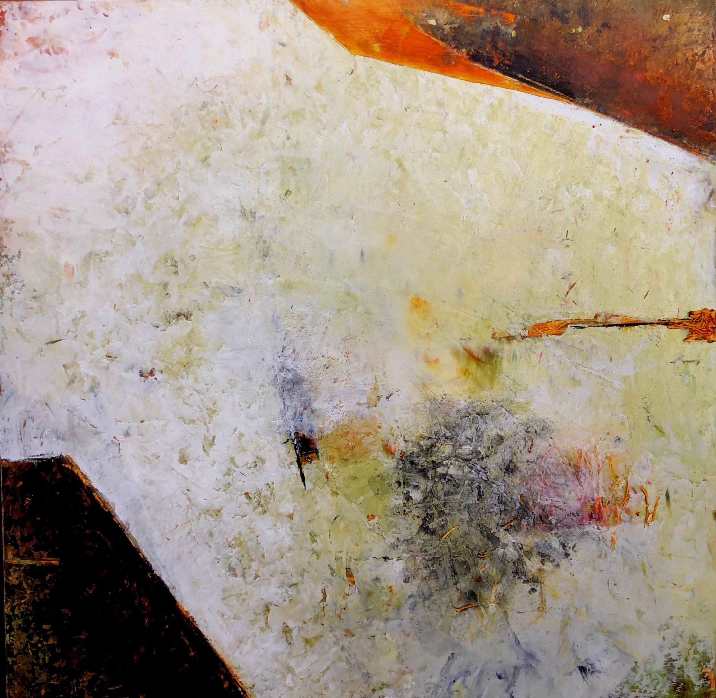 Walls of Nineveh I 40x40 Cold Wax & Oil on Wood Panels