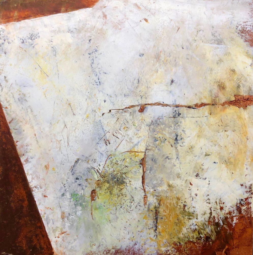 Walls of Nineveh II 40x40 Cold Wax & Oil on Wood Panels