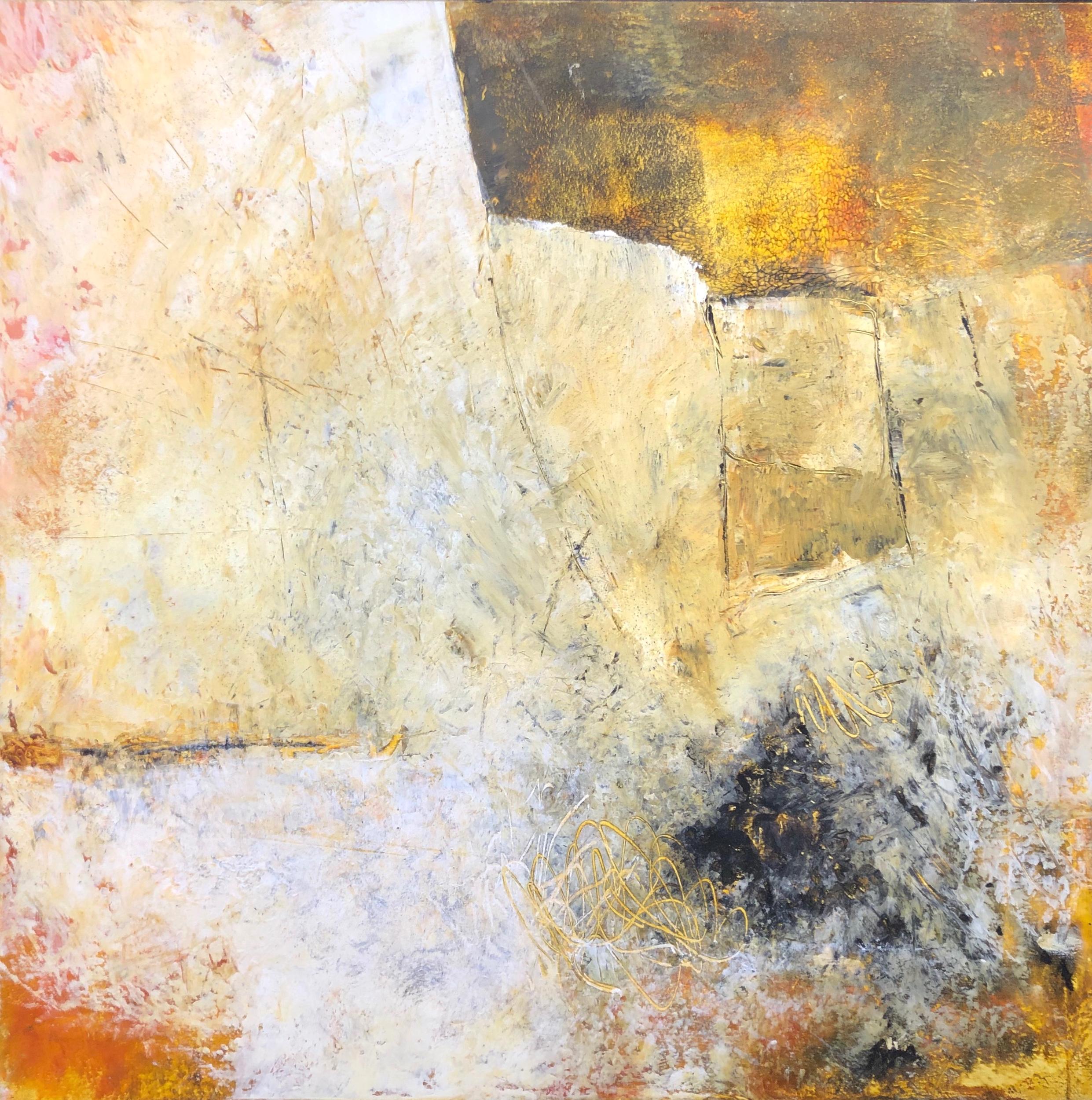 Walls of Nineveh VI 40x40 Cold Wax & Oil on Wood Panels