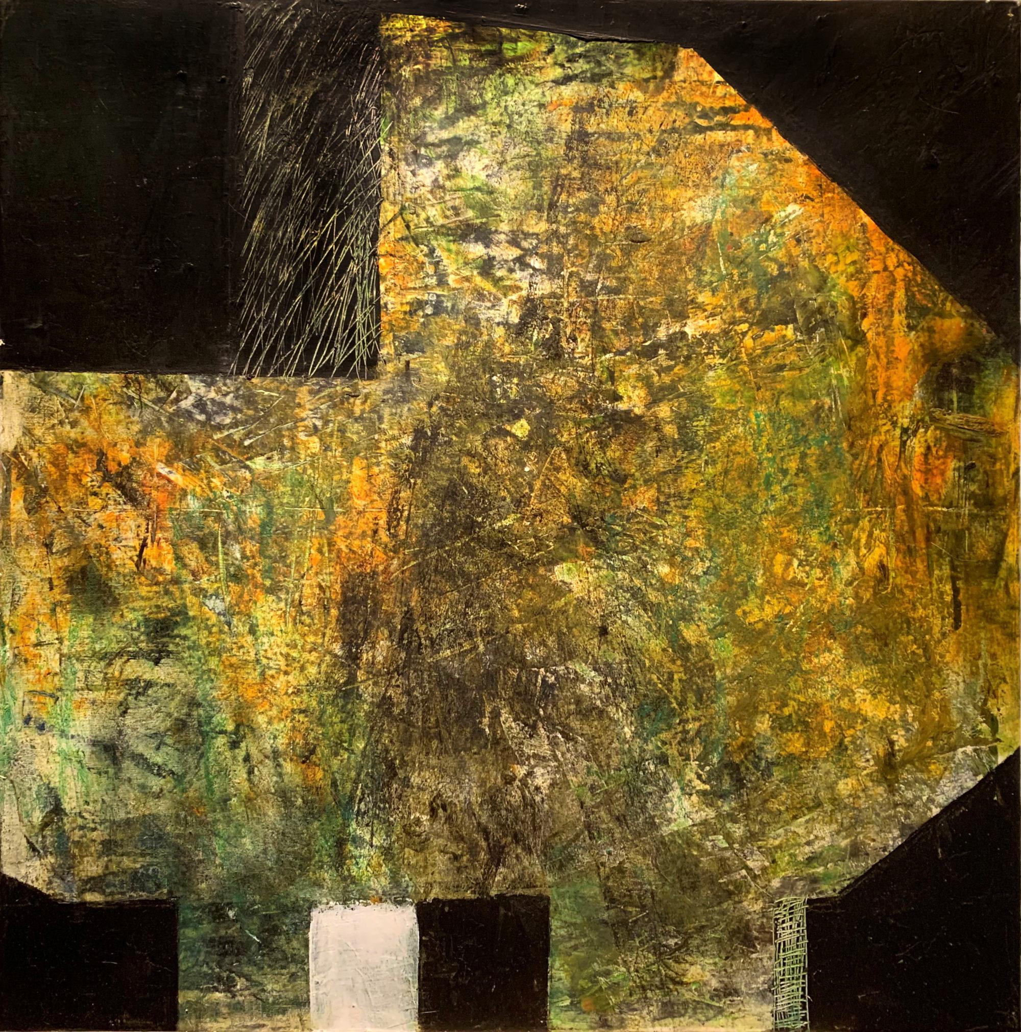 Etchings on Walls of Ninevah II 60 x 60 oil & cold wax